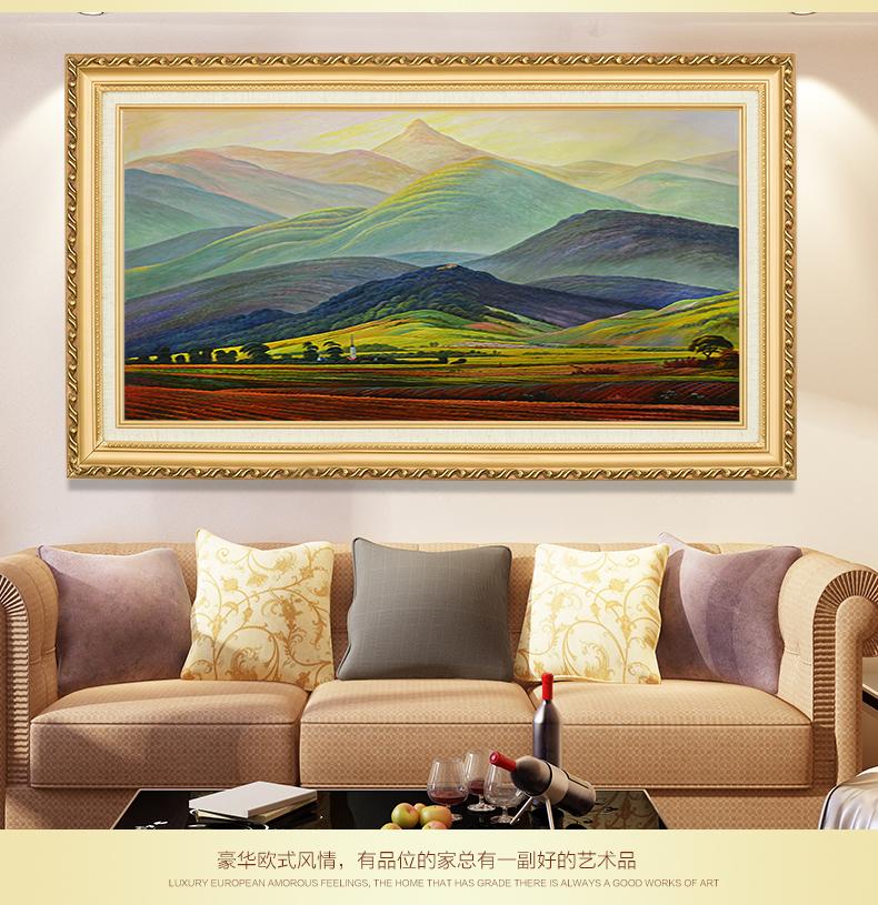 手绘油画欧式山水画风景画巨人山手工客厅卧室装饰画挂画定制