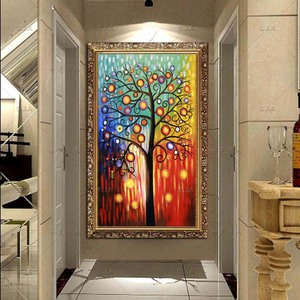 玄关装饰画壁画发财树油画竖版走廊画现代抽象挂画过道玄关画单幅-图片