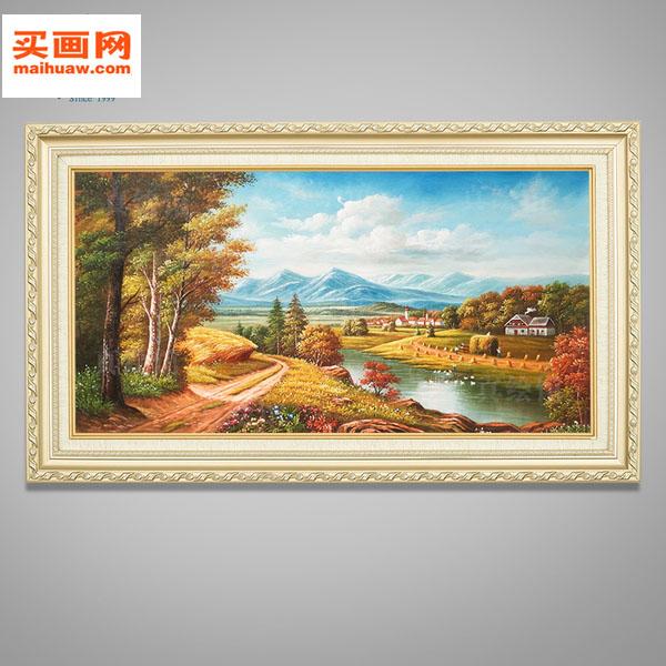 油画手绘欧式山水风景客厅壁画卧室挂画餐厅手工装饰画丰收聚宝盆