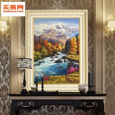 油画客厅装饰画玄关壁画餐厅竖版挂画欧式现代山水风景图片