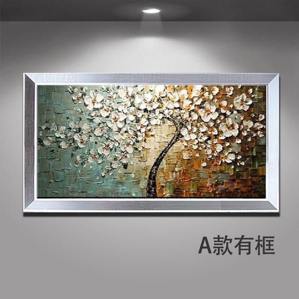 发财树油画手绘玄关竖版装饰画美式抽象壁画现代走廊过道立体挂画
