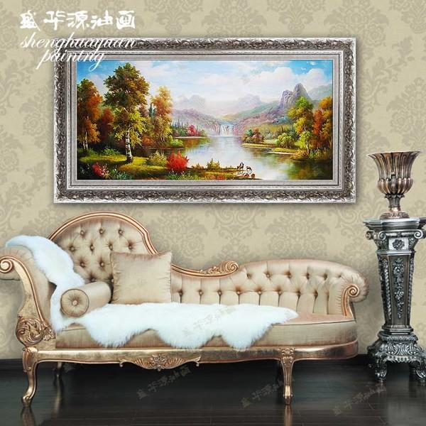 油画 手绘欧式风景别墅挂画书房餐厅卧室定制小鹿山水