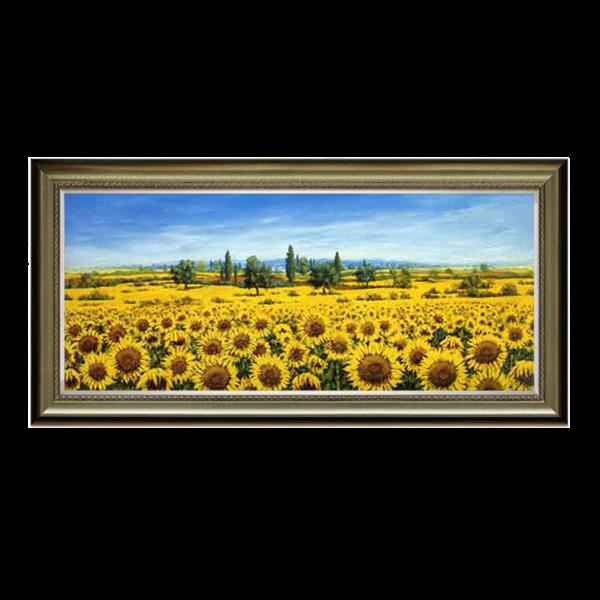 欧式田园客厅餐厅玄关壁炉有框装饰手绘油画向日葵花园风景hd107