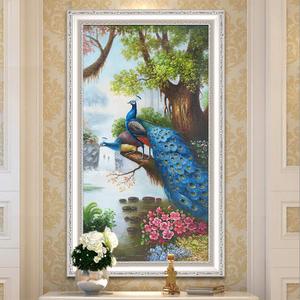 纯手绘手工欧式孔雀装饰画过道玄关油画背景墙走廊餐厅挂画壁画
