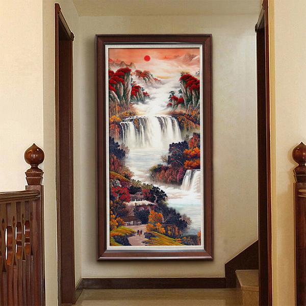 手绘中式玄关风景油画聚宝盆鸿运当头旭日东升办公室书房竖版挂画