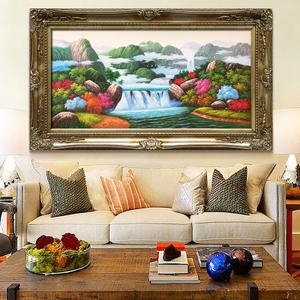 手绘手工欧式客厅风景油画招财聚宝盆风水画靠山水画背景墙装饰画
