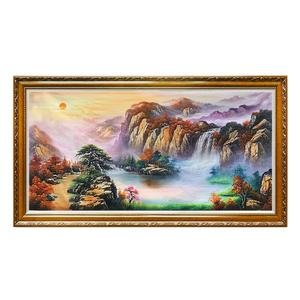手绘中式聚宝盆风水画办公室挂画鸿运当头山水风景油画客厅装饰画