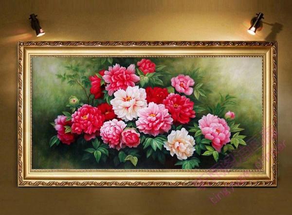 高档纯手绘欧式花卉油画牡丹花开富贵客厅卧室办公室挂画有框画