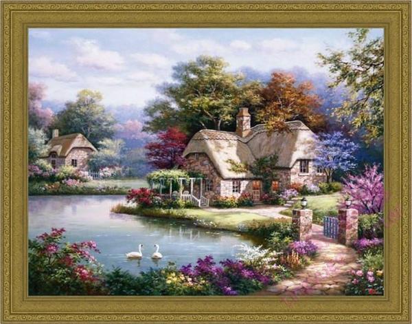 高档实拍大幅纯手绘托马斯风景油画花园景欧式客厅玄关卧室装饰画