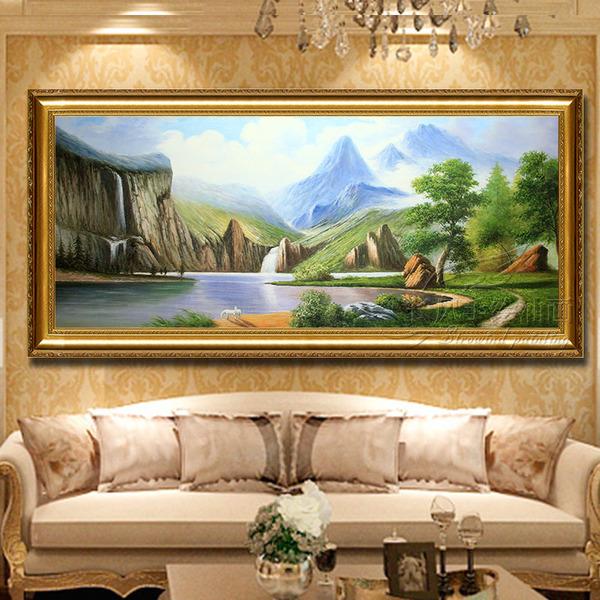 手绘欧式山水风景客厅油画聚宝盆沙发背景墙装饰画卧室餐厅挂画