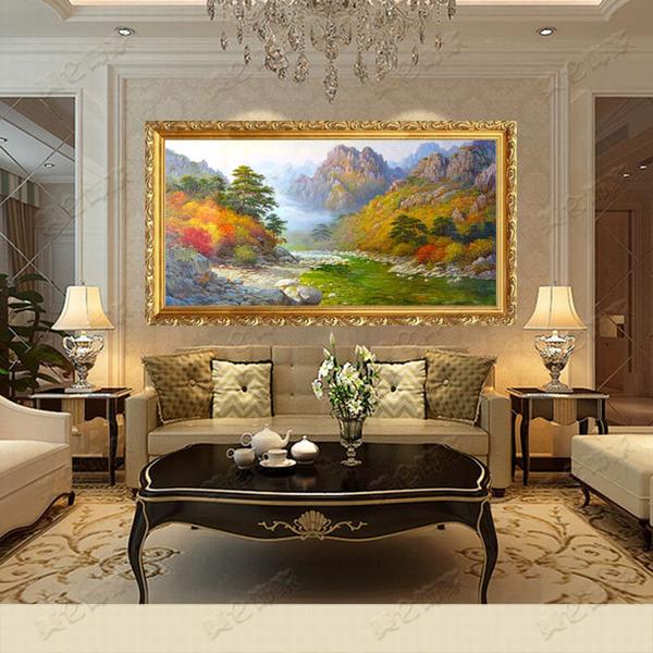 纯手绘欧式风景油画高档山水风景画天山古典客厅挂画别墅客厅挂画