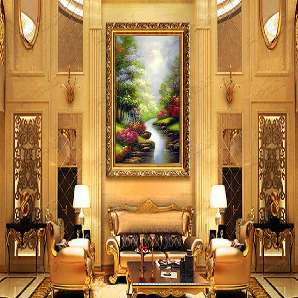 高档风景画纯手绘油画欧式客厅装饰画卧室挂画壁画高山流水玄关画