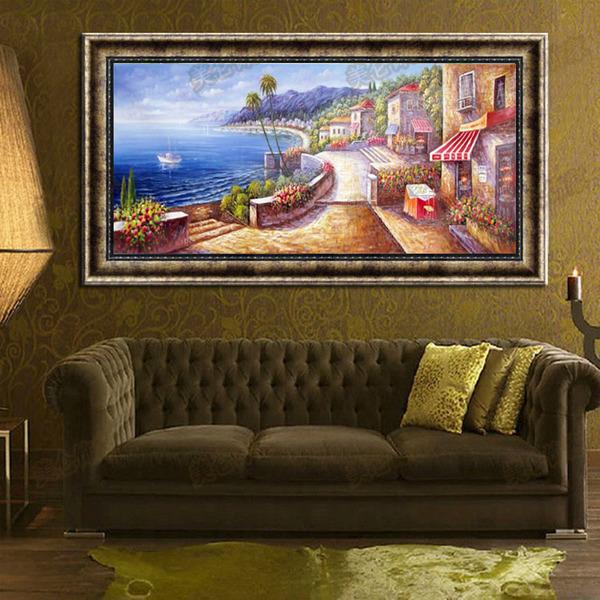 地中海手绘油画竖版横幅客厅卧室餐厅玄关壁画挂画装饰画风景现代