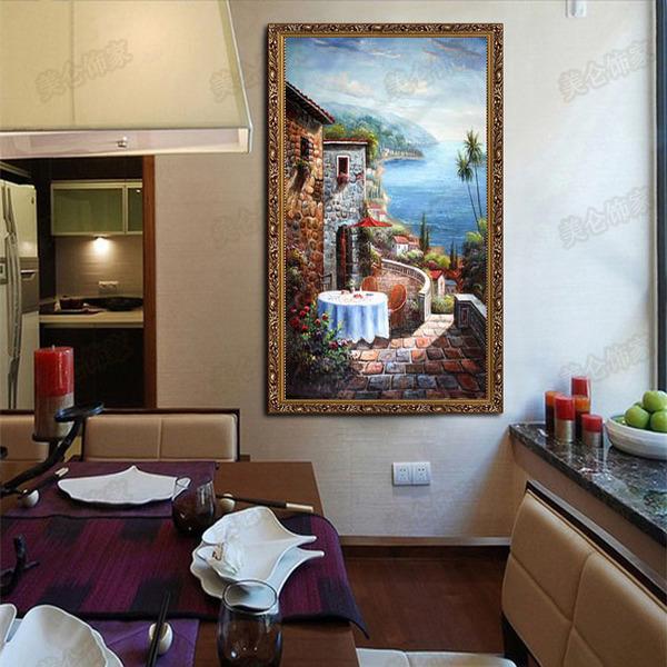 手绘地中海风格玄关走廊装饰油画客厅欧式竖版挂画爱琴海