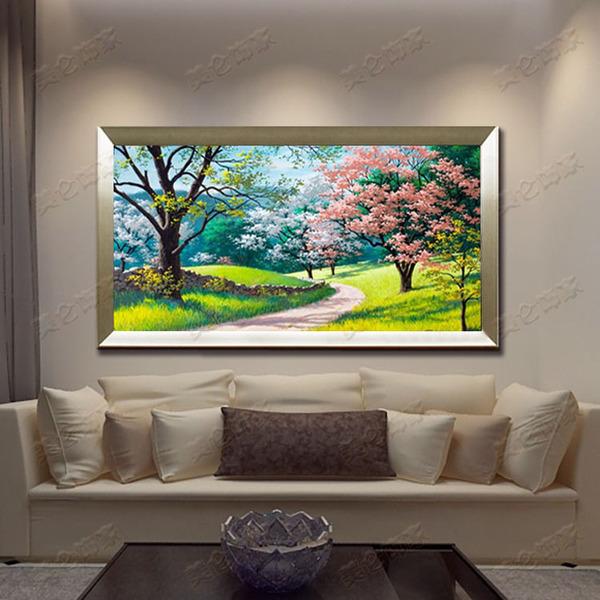 欧式客厅风景油画山水画托马斯花园景油画手绘玄关画横版高档油画
