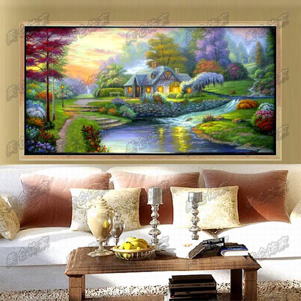 欧式客厅油画餐厅壁画酒店装饰画有框大横幅纯手绘托