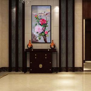 现代客厅玄关装饰画欧式油画手绘新中式牡丹挂画竖版走廊壁画定制