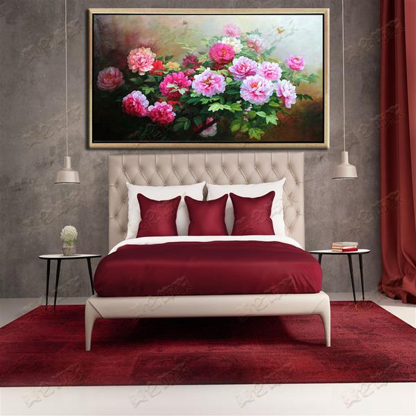 高档牡丹花手绘油画古典有框画客厅花开富贵欧式横幅客厅装饰画