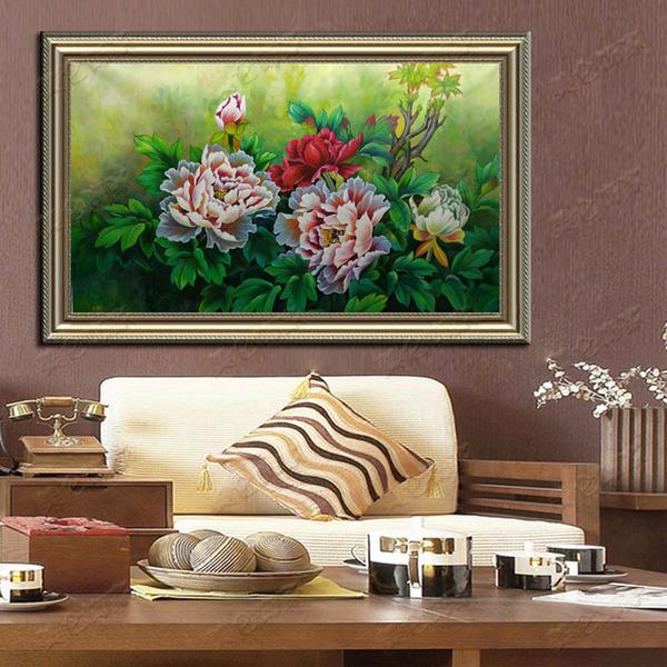 高档牡丹花手绘油画古典画客厅花开富贵欧式横幅客厅水彩画工笔画