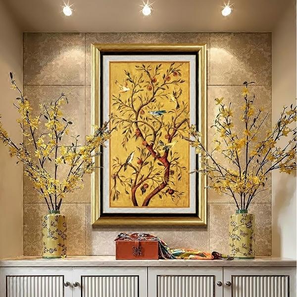 现代欧式玄关装饰画竖版过道走廊单幅油画壁画挂画入户墙画吉祥树