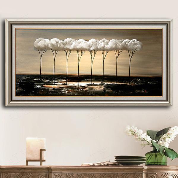 纯手工绘油画客厅沙发背景墙装饰画抽象挂画简欧式立体壁画发财树