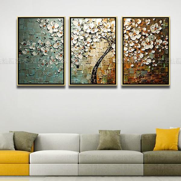 纯手绘油画客厅背景墙壁画装饰画欧式三联画抽象油画有框画发财树