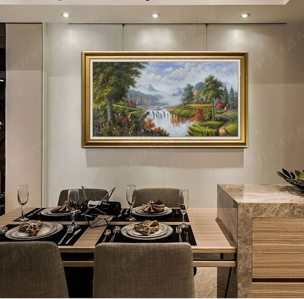 纯手绘简约欧式山水风景油画财源滚滚客厅餐厅挂画酒店装饰画横版