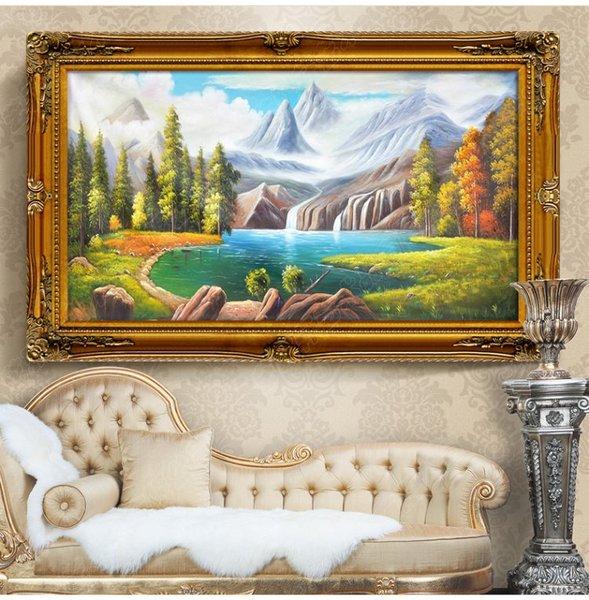 简约欧式纯手绘聚宝盆油画高档古典山水风景卧室客厅玄关装饰挂画