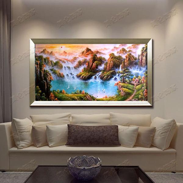 纯手绘欧式风景山水油画 客厅沙发背景有框装饰画 旭日东升聚宝盆