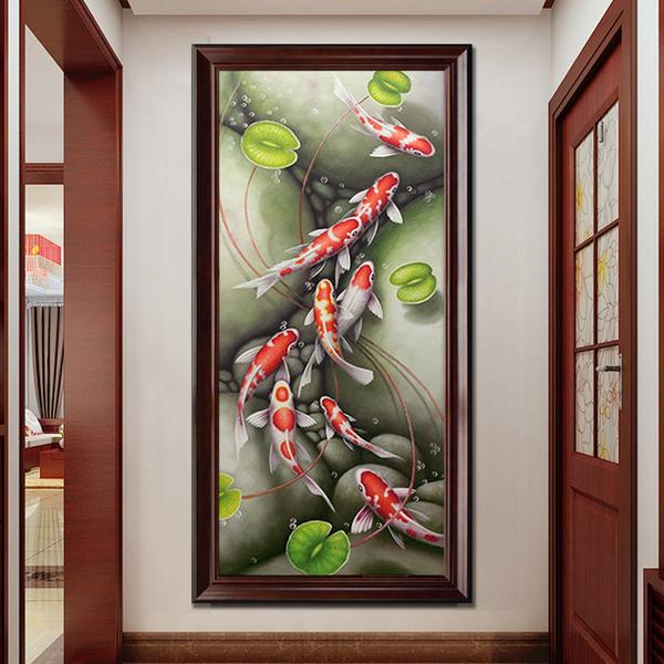 油画 玄关装饰画竖版挂画欧式过道壁画中式客厅手绘定制九鱼图