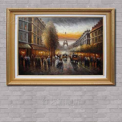 现代手绘油画卧室装饰画欧式壁画客厅挂画玄关有框画巴黎铁塔zw12