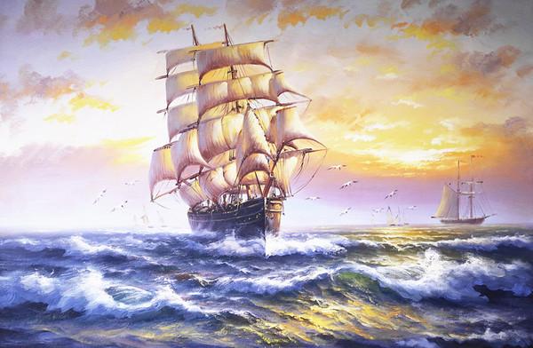 手绘油画 餐厅 书房 玄关现代中式油画帆船