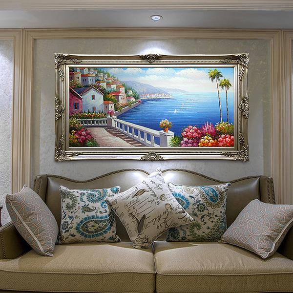 纯手绘欧式客厅地中海风景油画 简约现货挂画玄关壁炉